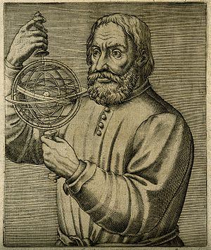Johannes de Sacrobosco - Line engraving done in year 1584. It pretends to depict Johannes de Sacrobosco.