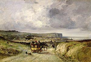 Jules Achille Noël - Image: Jules Achille Noël L'Arrivee d'une Diligence au Tréport (1878)