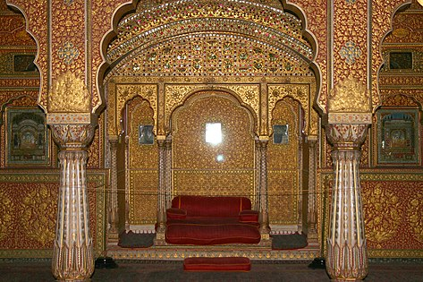 View of the Private Audience Hall in Anup Mahal at Junagarh Fort, built by the Rathor clan.