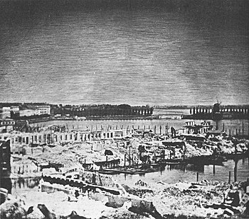 The destruction of the Hamburg fire in 1842 in the area of the Kleine Alster: This photograph is the oldest surviving photograph of Hamburg and the oldest surviving reportage photograph ever