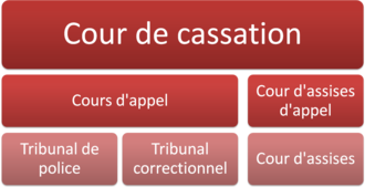 French judiciary courts - Organization of the French judiciary for criminal matters.