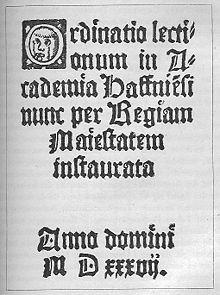 Il più antico piano di lezioni dell'Università del 1537