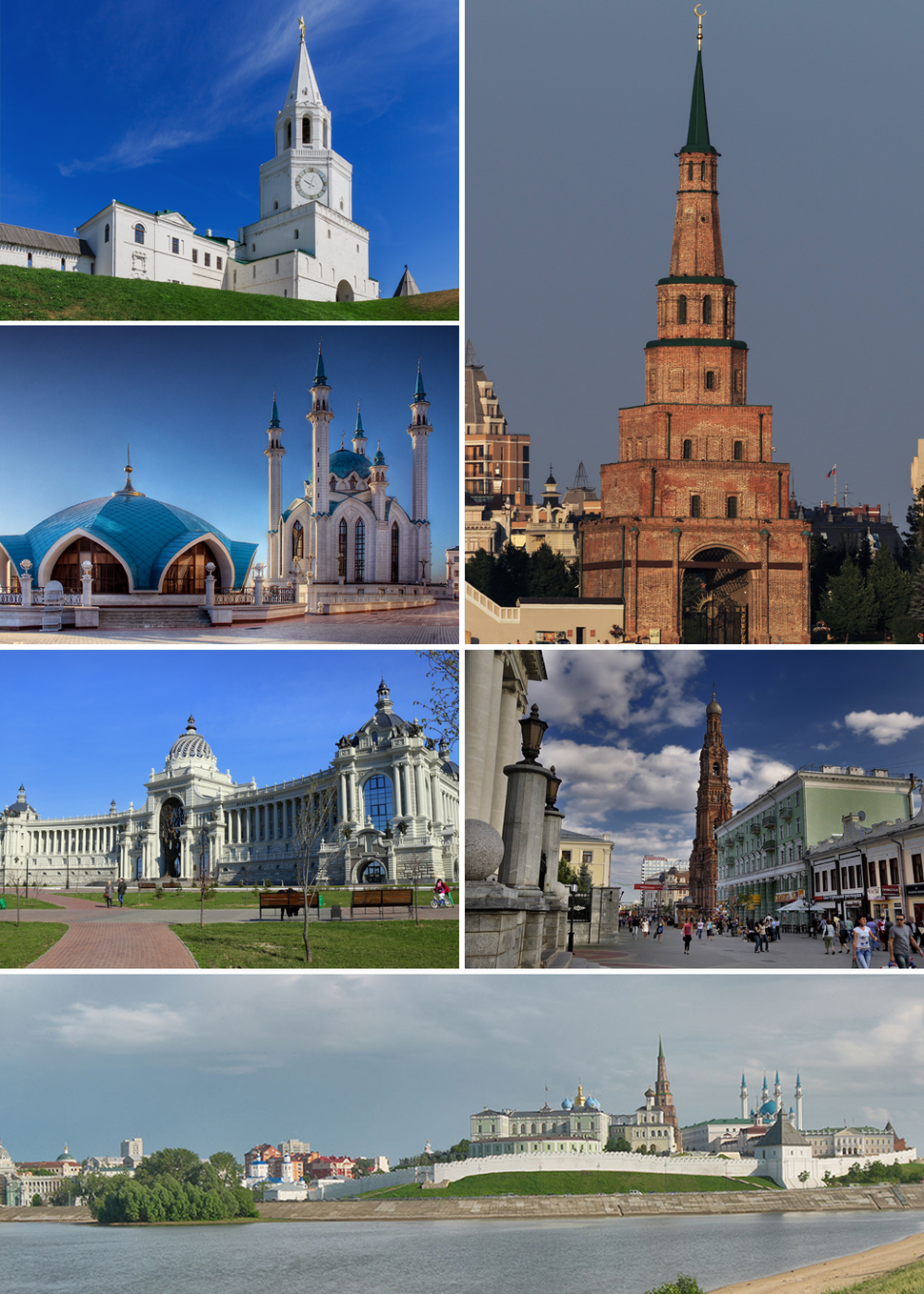 Left to right, top to bottom: Spasskaya Tower, Söyembikä Tower, Qol Sharif Mosque, Farmers' Palace, Epiphany Cathedral, view of Kazan