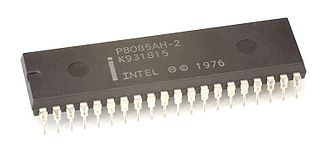 Intel 8085 - An Intel P8085AH-2 processor variant with black plastic and silver pins.