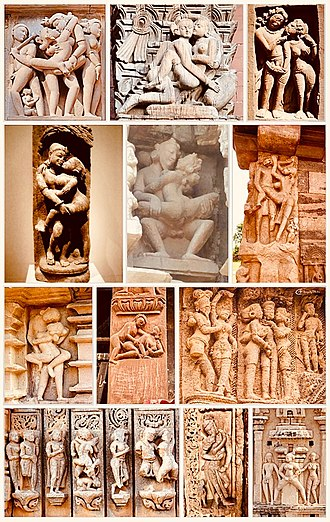 Kama Sutra - Kama-related arts are common in Hindu temples. These scenes include courtship, amorous couples in scenes of intimacy (mithuna), or a sexual position. Above: 6th- to 14th-century temples in Madhya Pradesh, Uttar Pradesh, Rajasthan, Gujarat, Karnataka, Chhattisgarh, Odisha, Tamil Nadu, Andhra Pradesh and Nepal.