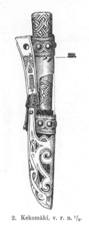 Karelia (historical province of Finland) - Drawing of a Karelian Iron Age knife with a sheath made by Theodor Schvindt in 1893 illustrating the one he excavated in Käkisalmi, Karelia.