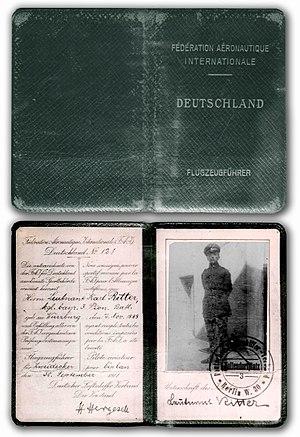 Karl Ritter (director) - Image: Karl Ritters Flugschein von 1911