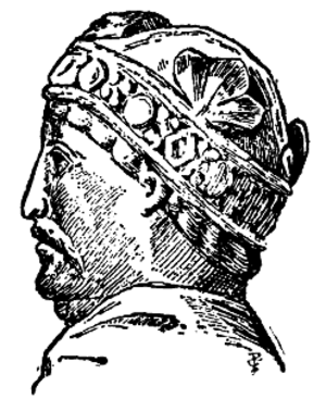 Equestrian statuette of Charlemagne - Drawing of the statuette's head in profile, from Nordisk familjebok (1910)