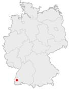 Lage der kreisfreien Stadt Freiburg im Breisgau in Deutschland