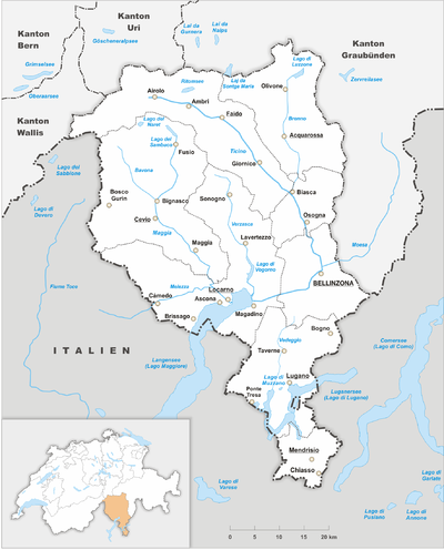 Map of Ticino