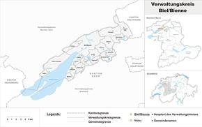 Karte von Verwaltungskreis Biel/Bienne