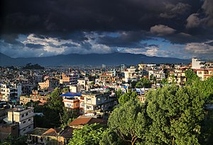 Kathmandu at the time of the monsoon with thick cloud cover