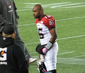 Kevin Glenn - Kevin Glenn, shown on the sidelines during the Stampeders' final game against Edmonton for the 2013 season on October 18. During the game, Glenn passed Tom Clements to become Number 10 on the CFL's all time passing list.