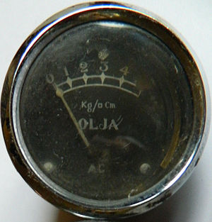 "Kilogram-force per square centimetre - Pressure gauge from unknown source. Note the ""square"" instead of 2. (Olja means Oil in Swedish)"