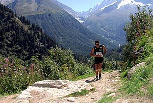 Trail running - Kilian Jornet, during his winning run at the 2008 Ultra-Trail du Mont-Blanc