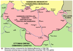 Habsburg-controlled territory in 1789–90