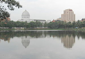 Lal Dighi - General Post Office and Reserve Bank of India building from across Lal Dighi