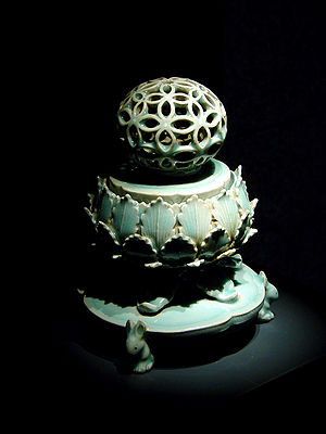 Gangjin Kiln Sites - Celadon Incense Burner from the Korean Goryeo Dynasty (918-1392), with kingfisher color glaze.