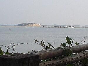 Korshavn Bay -  Korshavn with the small island Mejlø in the background