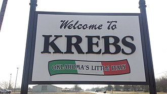 Krebs, Oklahoma - Welcome sign
