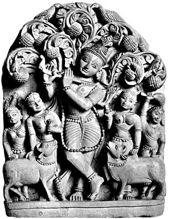 Puranas - The mythology in the Puranas has inspired many reliefs and sculptures found in Hindu temples. The legend behind the Krishna and Gopis relief above is described in the Bhagavata Purana.