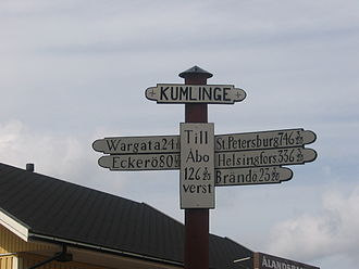 Kumlinge - A milepost in Kumlinge along the King's Road showing distances in versts to for example St Petersburg, Turku and Helsinki.