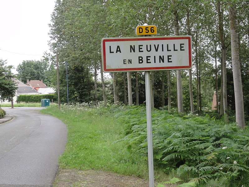 La Neuville-en-Beine (Aisne) city limit sign