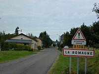 La Romagne (Ardennes) city limit sign.JPG