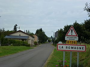 La Romagne (Ardennes) city limit sign.JPG
