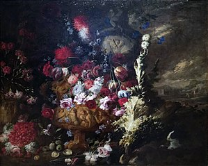 Landscape with Vases of Flowers and Fruits