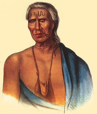 Lenape - Lapowinsa, Chief of the Lenape, Lappawinsoe painted by Gustavus Hesselius in 1735.