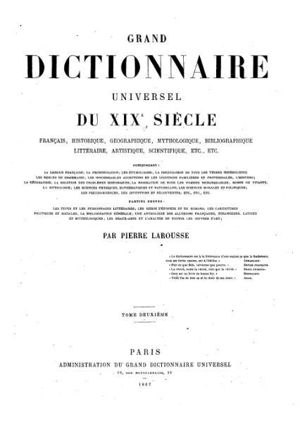 File:Larousse - Grand dictionnaire universel du XIXe siècle - Tome 2, part. 3, Bj-Bo.djvu