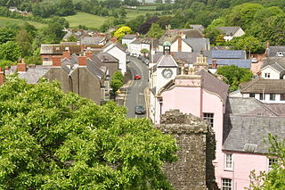 Laugharne town in Carmarthenshire