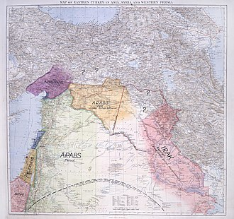 British Mandate for Mesopotamia (legal instrument) - Image: Lawrence of Arabia's map, presented to the Eastern Committee of the War Cabinet in November 1918