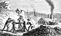 Black-and-white drawing of men working in a mine