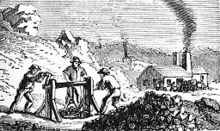 A black-and-white drawing of men working in a mine