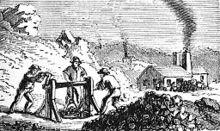 Eine Schwarz-Weiß-Zeichnung von Männern, die in einer Mine arbeiten