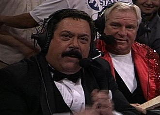 Bobby Heenan - Heenan (right) with fellow WCW announcer Lee Marshall ringside at a WOW! Women of Wrestling event