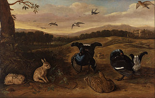 Black Game, Rabbits, and Swallows in a Park