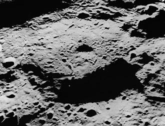 Levi-Civita (crater) - Oblique view facing east from Apollo 15