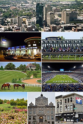 Van boven, van links naar rechts: skyline van Lexington, Rupp Arena / Central Bank Center, Keeneland Race Course, Donamire Farm, Kroger Field, University of Kentucky Arboretum, Old Fayette County Courthouse, NTRA-hoofdkantoor