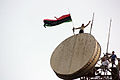 Libyan flag above the communications tower in Al Bayda (Libya, 2011-07-17).jpg