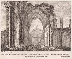 Roman Catholic Diocese of Liège - The Saint Lambertus cathedral during its destruction.
