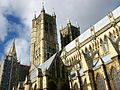 Lincoln cathedral, the west towers from the south.JPG