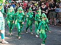 Little samba girls in green outfits from União da Roseira at Helsinki Samba Carnaval 2019.jpg