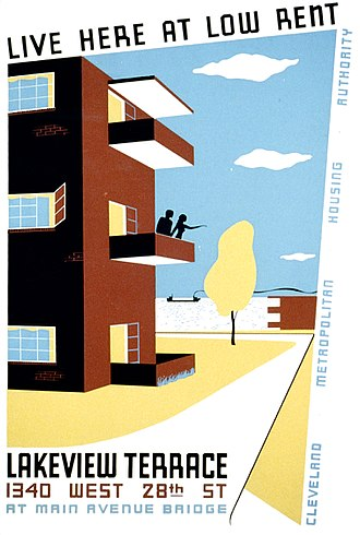 Cuyahoga Metropolitan Housing Authority - 1930s poster promoting Lakeview Terrace