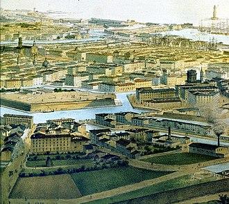 Livorno - Bird's-eye view of Livorno in the mid 19th century.