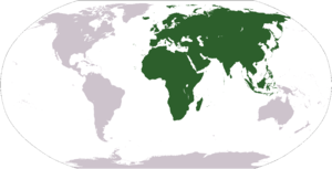 Map showing Africa-Eurasia (in green)