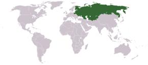 האימפריה הרוסית בגבולות 1914 על מפת העולם