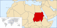 A map showing the location of Sudan